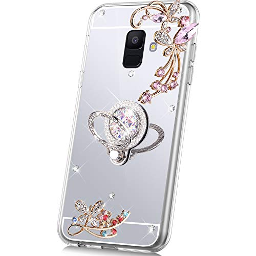 PHEZEN Case for Samsung Galaxy A6 2018 Mirror Case,Bling Glitter Flowers Sparkle Rhinestone Mirror Back TPU Silicone Case Cover with Ring Kickstand Diamond Crystal Case for Galaxy A6 2018,Silver