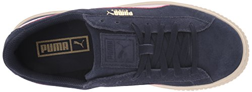 PUMA Unisex-Kids Suede Platform SNK Sneaker, Peacoat-Winsome Orchid Team Gold, 5 M US Big Kid by PUMA (Image #8)