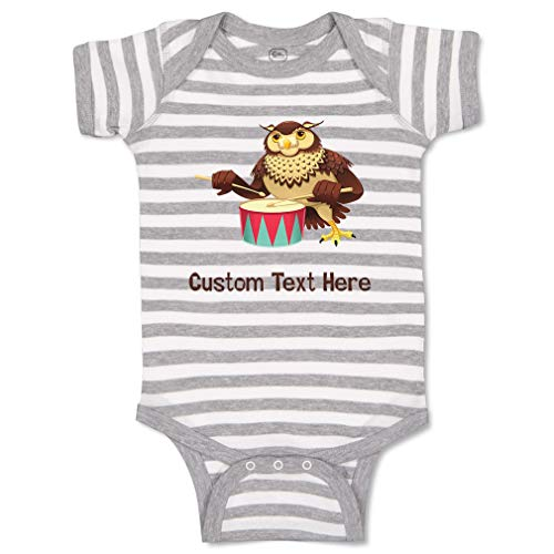 - Custom Personalized Boy & Girl Baby Bodysuit Owl with Drums Animals Funny Cotton Striped Baby Clothes Stripes Gray White Personalized Text Here 18 Months