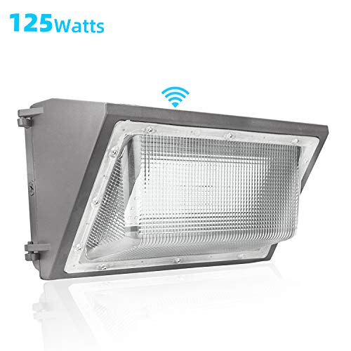 125W LED Wall Pack Light with Dusk-to-Dawn Photocell,15000lm and 5500K White Color,Outdoor Wall Pack LED Security Light,500-600W HPS Metal Halide Bulb Replacement (125Watt)