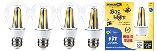 (MiracleLED 604082 Decor Gorgeous LED Un-Edison Vintage 360 Degree Wide Angle Bug Lite Outdoor Porch, Patio, Deck & Entry Way Light Bulb (4-Pack))