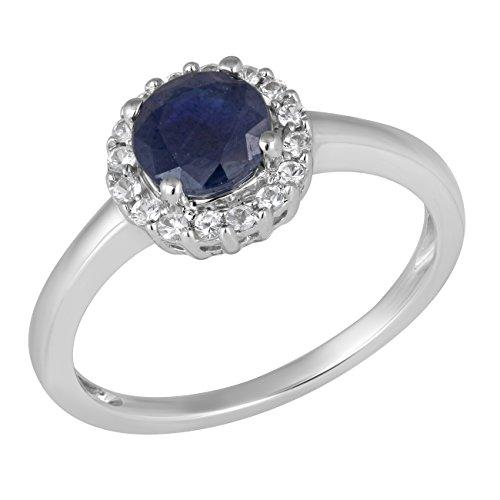 Jewelili femme  9carats (375/1000)  Or blanc|#Gold Rond   Bleu Saphir FASHIONRING