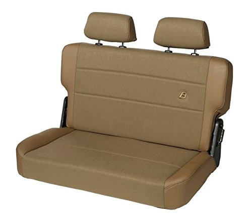 Fabric Rear Bench Jeep Seat - Bestop 39441-37 TrailMax II Fold and Tumble Spice Vinyl with Fabric Insert Rear Bench Seat for 1955-1995 CJ5, CJ7 and Wrangler YJ