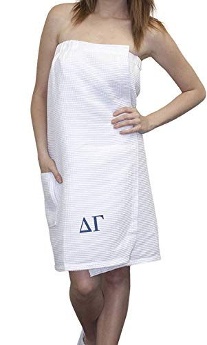 Delta Gamma Embroidered Greek Letters Towel Wrap XXL White ()