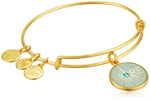Alex and Ani Words are Powerful More Peace EWB Shiny Gold Bangle Bracelet