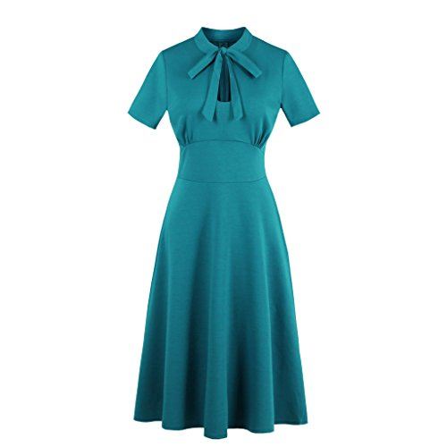 [Wellwits Women's Keyhole Cutout Bowtie Vintage Collared Cocktail Dress Green L] (Vintage 20s Dresses)