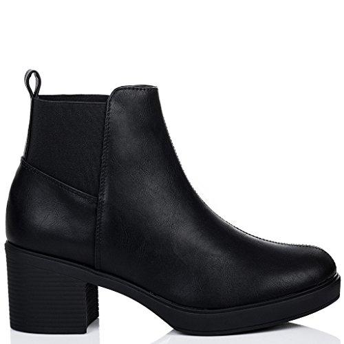 SPYLOVEBUY POPCORN Mujer Tacón Bloque Chelsea Boots Botines Negro - Cuero Sintético