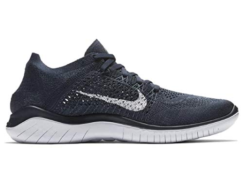 Nike Men's Free RN Flyknit 2018 Running Shoes (11, Navy/White)