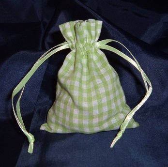 3x4 Cotton Gingham Wedding Favor Gift Bags/Pouches - Green (10 ()