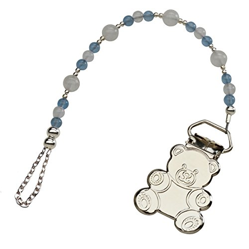 Sterling Silver Teddy Bear Binky or Pacifier Clip in Powder Blue and White (Clip is base metal)
