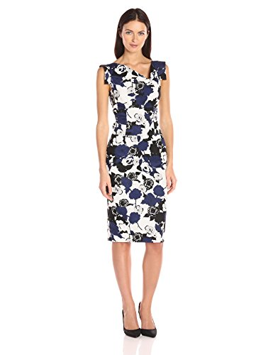 (Black Halo Women's Floral Jackie O Dress, Blue Rose Print 4)