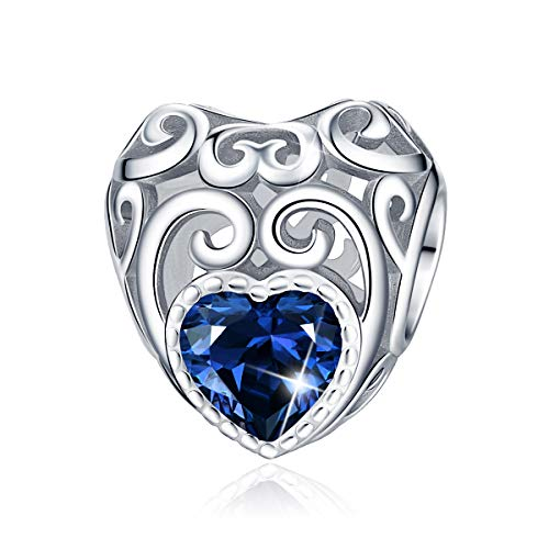 September Birthstone Charms- Leaves Wave Heart Bead Charms- 925 Sterling Silver Openwork Charm fit Pandora Charms Bracelet Necklace for Women, Daughter, Wife, Girlfriend, Mother BJ09016 (September)
