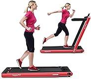 GYMAX 2 in 1 Folding Treadmill, 2.25HP Under Desk Electric Pad Treadmill, Portable Walking Jogging Running Mac