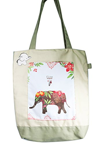 Elephant Canvas Shopping Tote Bag - Eco-Friendy Foldable Resuable Grocery Tote with Front Pocket (Elephant Shopping Bag)