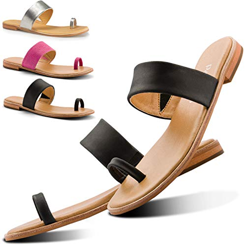 Parfeying Sandals for Women, Adjustable Leather Strap with Toe Ring Matte Flat Slides (L10333, Black, US - Toe Ring Leather