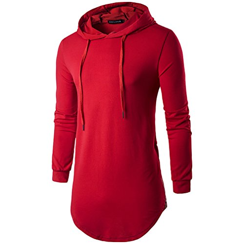 FeN Men's Long-Sleeved Shirt Fashion Casual Comfortable T Shirts Personality Hooded Long Section Cotton Solid Colored Tops (Color : Red, Size : M)