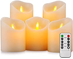 Pandaing Set of 5 Realistic Moving Flame Real Wax Flameless Candles with 10-Key Remote Control and 2 4 6 8 Hours Timer Function