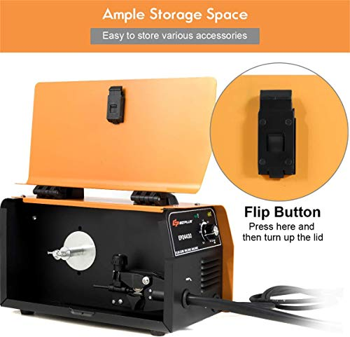 Goplus No Gas 130 MIG Welder, IGBT Inverter Automatic Feed Flux Core Wire Welding Machine w/Free Mask and Portable Handle, Synergic Adjustment Function(Orange)