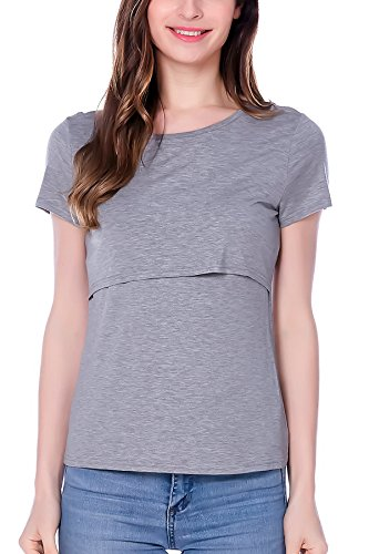 Smallshow 3 Pcs Maternity Nursing T-Shirt Modal Short Sleeve Nursing Tops Brown-Black-Grey,Large by Smallshow (Image #3)