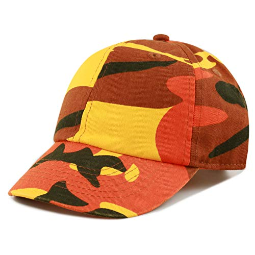 (The Hat Depot Kids Washed Low Profile Cotton and Denim Plain Baseball Cap Hat (Orange Camo))