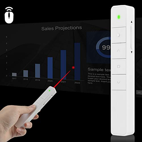 Wireless Presenters, Rechargeable PowerPoint Clicker Presentation Remote Control Laser Pointer with Function of Air Mouse/Electronic Ink Mark/Hyperlink/Volume [2019 Upgrade]