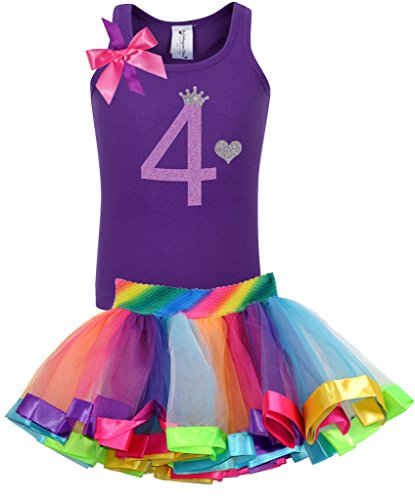 Bubblegum Divas Little Girls' 4th Birthday Purple Rainbow Princess Outfit 4
