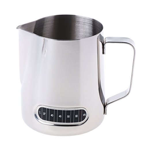 Tebatu Stainless Steel Milk Frothing Jug, Barista Coffee Pitcher with Thermometer 600ml by Tebatu