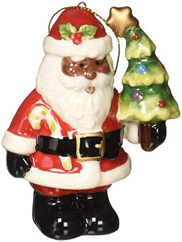 Cosmos Gifts African American Santa with Christmas Tree Ornament, Multicolor ()
