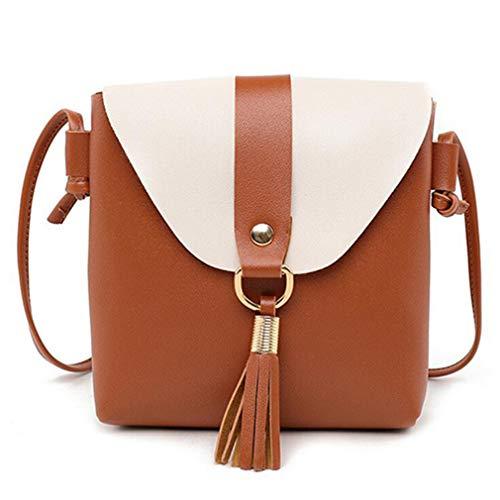 Hombro Mensajero Bag Bolso Brown 17x4x19cm de Bolso de de Mujer Black de de Cuero Messenger TxwfB8Hq5