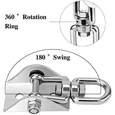 UniqueFire 1CS Heavy Duty Swing Hangers Set 1000LB Capacity, Permanent Antirust Stainless Steel 304S Swivel Hooks 360°Rotate for Concrete and Wooden Swing Sets, Playground Porch Yoga Hammock (2 Pack): Sports & Outdoors