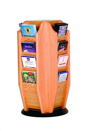 Wooden Mallet Cascade Spinning Countertop Display with 16-Brochure Pockets, Light Oak ()