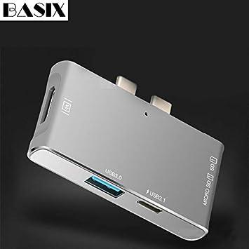 PITONG Basix USB Type C Hub Dual Type C Dock hub for MacBook Pro with 4K HDMI USB-C USB3.0 SD//TF Card Reader Type C USB Hub 2usbc-3usb3.0 s