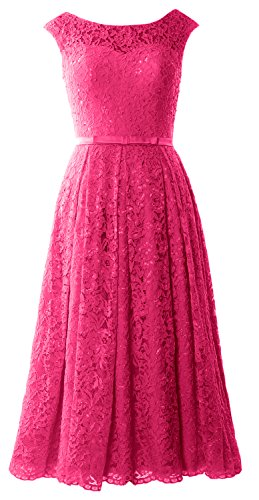 Length Caps Lace Dress Wedding Cocktail Sleeve Party Gown Fuchsia Tea Formal MACloth YdqHCwC