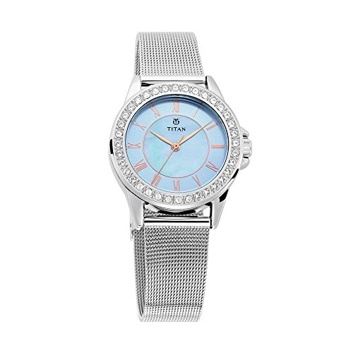 Titan Sparkle Women's Multi-Functional Dress Watch with Swarovski Crystals | Quartz, Water Resistant, Mesh Band (blue2) from Titan