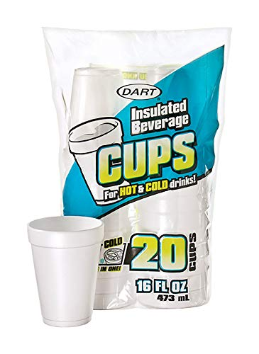 DART Container 20 Count 16 Ounce White Foam Cup, 16 oz