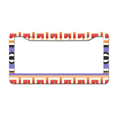 DKISEE Abstract Purple Native American Pattern License Plate Frame Aluminum Car Licence Plate Covers with 2 Holes 12