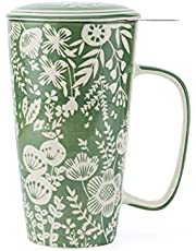 Taimei Teatime Hand Painted Tea/Coffee Mug, Ceramic Tea Cup with Infuser and Lid, 17 fl oz Large Medium Tea Maker for Loose Leaf Tea