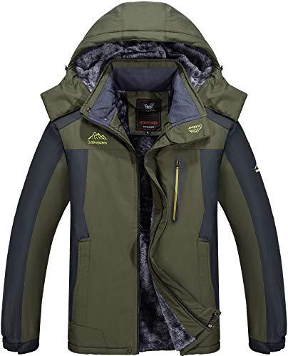 Vcansion Men's Mountain Waterproof Fleece Ski Windproof Rain Active Performance Jacket Coats Snowboard Windbreaker Hooded Army Green ()
