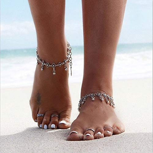 Nicute Boho Bells Tassel Anklet Silver Flower Anklets Summer Beach Foot Jewelry for Women and Girls