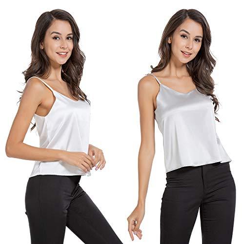 (AUQCO Women Satin Tank Top Camisole Silky V Neck Sleeveless Cami Blouse (White+Grey, M))