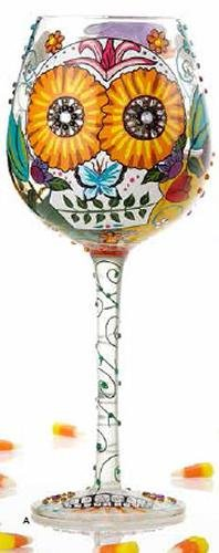Halloween Sugar Skulls Artisan Hand Painted Big Wine Glass by Lolita
