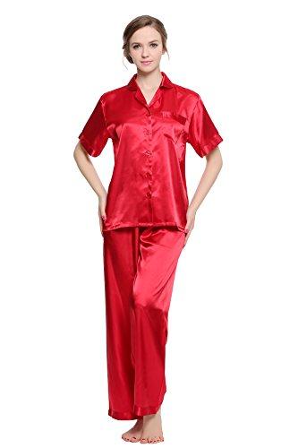 Pj Set Check (Sunrise Women's Short Sleeve Classtic Satin Pajama Set (Large, Red))