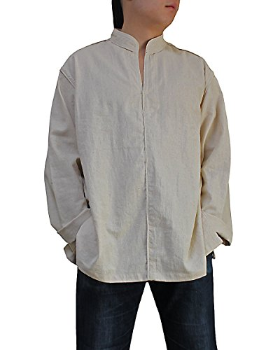 Sawan-Mens-Hemp-Standing-Collar-Pullover-Piping
