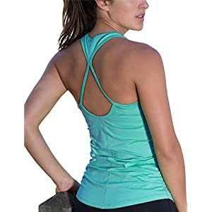 icyzone Workout Yoga Fitness Sports Racerback Tank Tops For Women (S, Florida Keys)