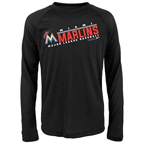 MLB Youth 8-20 Marlins performance Long sleeve Tee, M(10-12), Black (Marlin Long Sleeve Tee)