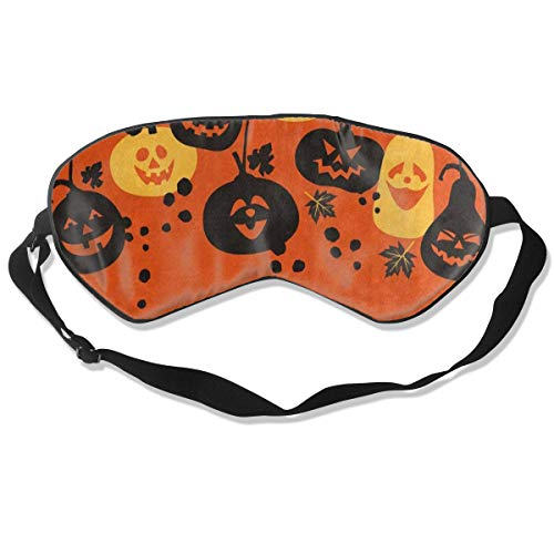 Sleep Mask Happy Halloween Hipster Pumpkin Bat Eye Mask Cover With Adjustable Strap Eyemask For Travel, Nap, Meditation, Blindfold ()