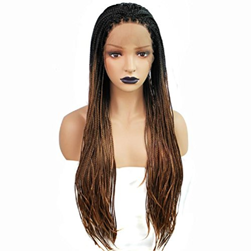 Straight Type Shackles (Fashion three-strand Braids wig gradient wig front lace chemical fiber wig)