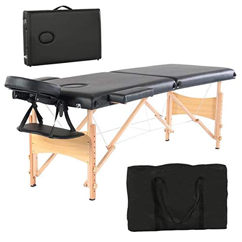 Simply-Me Massage Table Massage Bed 84 Inch 2 Folding Portable Beech Leg Beauty Massage Table Height Adjustable Spa Bed Facial Salon Tattoo Bed w/Carry Bag,Black