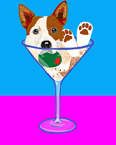 Australian Cattle Dog (Red Heeler) Martini Dog Art Print of Original Digital - Dog Art Martini