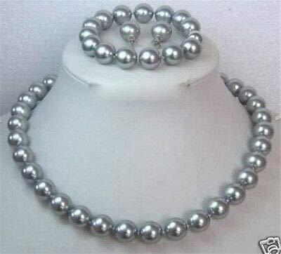 (FidgetKute AAA 10MM Grey Shell Pearl Necklace Bracelet/Earring Set 18